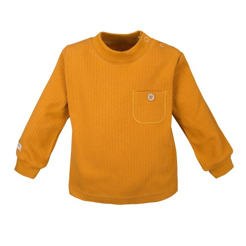 SIMPLY COMFY  marškinėliai su kišene gelsvi